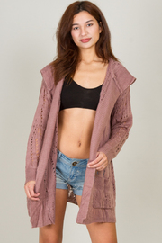 Hooded Cardigan Sweater With Pocket