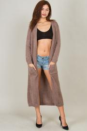 Soft Fuzzy Long Cardigan With Pocket
