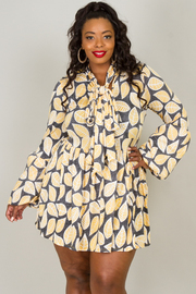 LONG PUFFED OUT SLEEVES WITH BOW PRINTED MINI DRESS