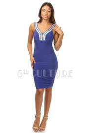 Beaded Strap Ruched Dress
