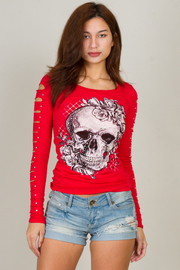 "Long Sleeve With Cut Out ""SKULL"" Crew Neck Tee"