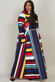 Elegant Multi striped maxi dress with ribbon point