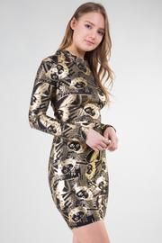 Long Sleeve Face Print Crisscross On Back Mini Dress