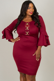 Plus Size Long Bell Sleeve With Ruffle Dress