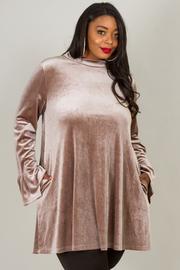 Plus Size High Neck Flounce Hem At Sleeve Dress
