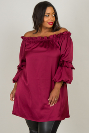 Plus Size Off The Shoulder Ruffle At The Hem Long Sleeve Dress