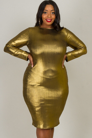 Plus Size Crew Neck Shinny Long Sleeve Dress