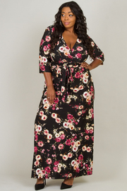 Plus Size Deep V-Neck 3/4 Sleeve Tie At The Waist Long Dress