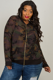 Plus Size Zipped Up Long Sleeve Camouflage Jacket