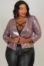 Plus Size Sequin Long Sleeve Jacket