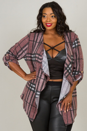 Plus Size Flannel Long Sleeve Cardigan