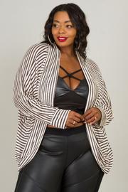 Plus Size Long Sleeve Stripe Cardigan
