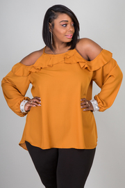 Plus Size Long Ruffled Cut-Out Sleeve Blouse