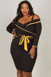 Plus Size Spaghetti Strap With Off The Shoulder Long Sleeve And Tie Up At The Waist