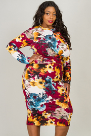 Plus Size High Neck Long Sleeve Fitted Floral Dress