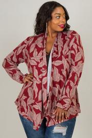 Plus Size Long Sleeve Leaf Cardigan