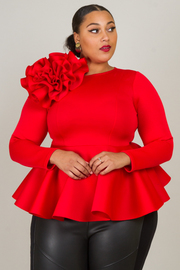 LONG SLEEVE WITH BIG FLOWER DETAIL PEPLUM STYLE TOP