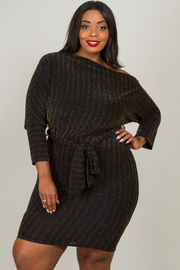 Plus Size Glitter Dress With Tie At Waist