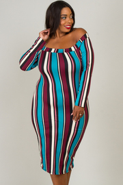 Plus Size Fitted Long Sleeve Off The Shoulder Dress