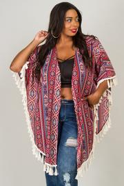 Plus Size Tribal Cardigan With Fringe