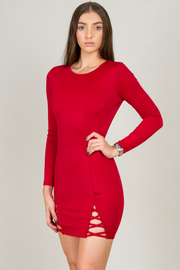 Fitted Long Sleeve Mini Dress With Crisscross Assent On The Side
