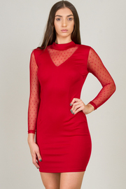High Neck Line Mini Dress With Mesh On Neck Area And Sleeves Mini Dress