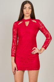 High Neck With Cut-Out Lace Mini Dress