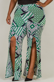 PUFF UP PRINTED FRONT SLIT PANTS
