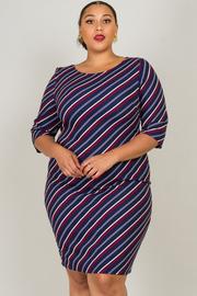 Plus Size Crew Neck 3/4 Sleeve Stripe Dress