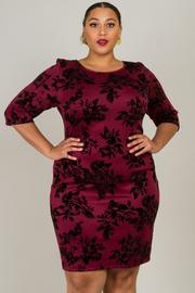 Plus Size 3/4 Sleeve Crew Neck Floral Dress