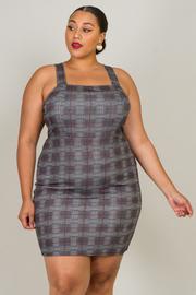 Plus Size Strap Checker Mini Dress