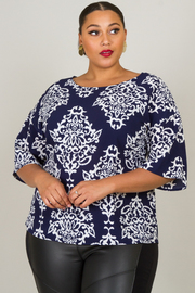 Plus Size Print Short Sleeve Blouse