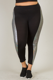 SIDE SHINY AND LEATHER FASHION LEGGINGS