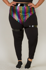 RAINBOW STRIPE MESH WITH SHINY BAND LEGGINS