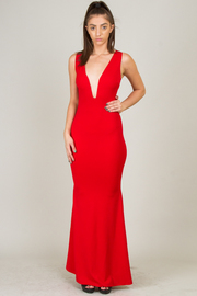 A-Line Deep V-Neck Sleeveless Long Dress