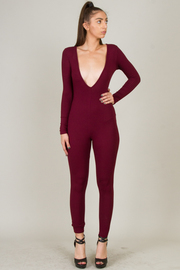 Long Sleeve Deep V-Neck Knit Jumpsuit