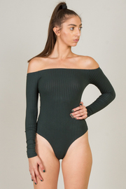 Strait Collar Off The Shoulder Long Sleeve Bodysuit