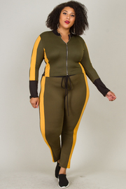 Plus Size Jogger Jacket and Pant Set