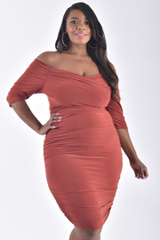 Plus Size 3/4 Sleeve V-Neck Off The Shoulder Dress