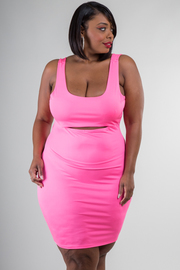 Plus Size Mini Dress With Cut-Out At The Waist