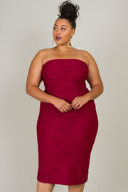 Plus Size Tube Top Ruched Dress