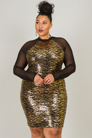 Plus Size Sheer Long Sleeve Dress