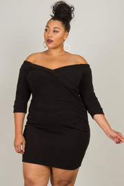 Plus Size Long Sleeve Off The Shoulder Mini Dress