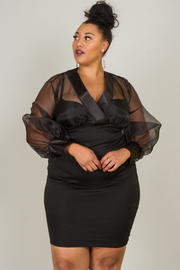 Plus Size SEE-THROUGH OVERLAP FRONT LONG SLEEVE FITTED DRESS