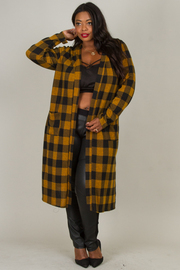 Plus Size Flannel Long Cardigan With Pocket