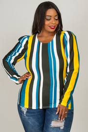 Round neck puffed out shoulders long sleeve striped top