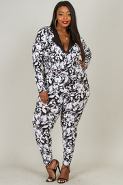 Plus Size BLACK AND WHITE FLOWER PRINT WITH LITTLE SPANGLE JUMPSUIT