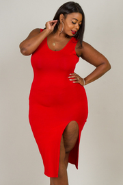 Plus Size ROUND NECK SLEEVELESS FRONT SLIT SEXY FITTED DRESS