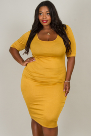 Plus Size SQUARE NECK 3/4 SLEEVE FITTED DRESS