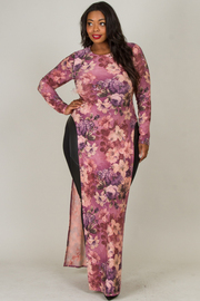 Plus Size ROUND NECK LONG SLEEVE SIDE SLIT FLOWER PRINTED SEXY DRESS